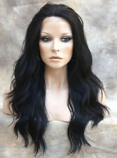 HEAT SAFE Full Lace Front WAVY LONG WIG Off Black Hairpiece  WBYV 1B