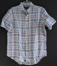 Polo Ralph Lauren Big & Tall Mens Multicolor Plaid 100% Linen S/S Shirt NWT 4XLT