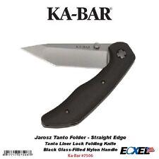 KA-BAR #7506 Jarosz Tanto Folder, Straight Edge Folding Knife, AUS 8A