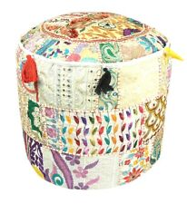 Indien Patchwork Handmade Footstool Vintage Traditional Round Pouffe Cover Decor