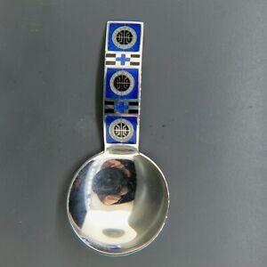 Norway David Andersen Enameled Sterling Tea Caddy Spoon