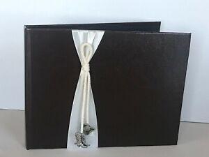 Western Wedding Guestbook, Brown, Silver Tone Cowboy Charms