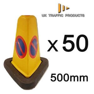Pack of 50 - Triangular No Waiting / No Parking U.K Traffic Cones (500mm)