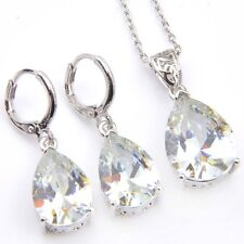 2 pcs 1 Lot Water Drop White Fire Topaz Gemstone Silver Hook Earrings Pendants
