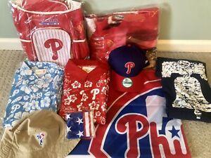 "Lot of 9 - Philadelphia Phillies ""Father's Day"" set shirts flag caps blanket etc"