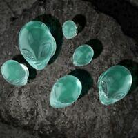 "PAIR - GREEN ALIEN FACE DOUBLE FLARED PYREX GLASS PLUGS EAR GAUGES (2G-1"")"