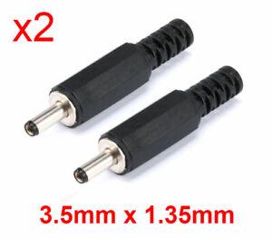 x2 Connettori DC plug jack maschio 3,5 x 1,35mm spinotto da saldare - DA ITALIA