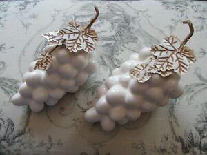 "Vintage Hollywood Regency MCM White Ceramic Glazed Bunch of Grapes 7"" Unmarked"