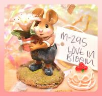 ❤️Wee Forest Folk M-295 Love in Bloom Easter Flower Mouse Navy Retired WFF❤️