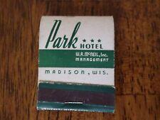 Park Hotel Madison Wisconsin Vintage Matchbook Full Unstruck Book