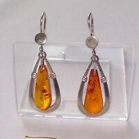 Natural Cognac Amber Dangle Drop Earrings Solid Silver 925 star Russian Vintage