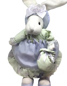 "Russ Primrose Bunny Spring Breeze 14"" Knited Purple And Green Plush"