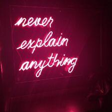 "New Never Explain Anything Bar Pub Wall Decor Acrylic Neon Light Sign 24x24"""