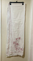 Vintage Hand Embroidered Large Rectangle Tablecloth 95 x 64 Table Linen