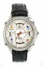 JACOB CO 5 TIME ZONE 2.0 CT DIAMOND BEZEL SILVER DIAL STAINLESS STEEL MENS WATCH