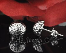 18k solid white gold 8 mm earring half round diamond cut ball stud 1.50 gr #2736