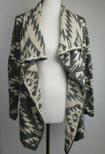 Market Spruce draped cardigan sweater sz S Boho tribal gray white cashmere blend