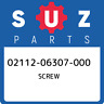 02112-06307-000 Suzuki Screw 0211206307000, New Genuine OEM Part