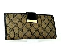 Auth GUCCI GG Beige Canvas Leather Trifold Long Wallet Purse Italy Vintage Used