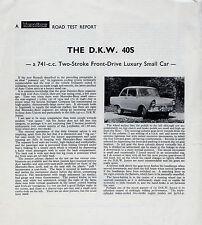 Auto Union DKW Junior 40S 1961-62 UK Market Road Test Leaflet Brochure