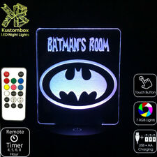 Batman Dark Knight Personalised Name Superhero LED Night Light 7 Colour + Remote