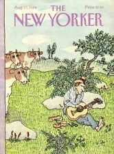 New Yorker COVER 08/13/1984 - Seranading Cows - STEIG