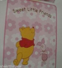 DISNEY BABY BLANKET WINNIE POOH PIGLET SWEET LITTLE FRIENDS PINK SOFT PLUSH GIRL
