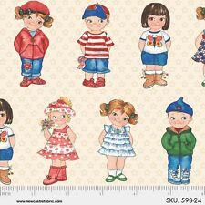 Fat Quarter Today's Paper Dolls Allover Cotton Quilting Fabric - 50cm x 55cm