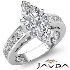 Brilliant Marquise Cut Diamond Ideal Engagement Ring GIA F SI1 Platinum 2.2 ct
