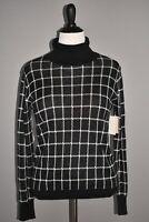 14TH & UNION NEW $25 Long Sleeve Turtleneck Sweater in Black Windowpane Large