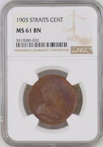 Mazuma *N406 NGC Straits Settlements 1903 Cent MS61BN Cert No.5910589-032