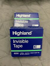 2 Packs Of 3m Highland Scotch Invisible Tape 6200 34 X 1296 36yd