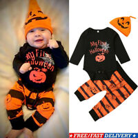 Newborn Baby Boy Girl Halloween Tops Romper Bodysuit Jumpsuit Pants Outfits Sets
