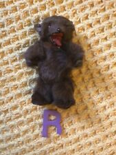 More details for beautiful antique grizzly bear toy with collar made of real bear fur