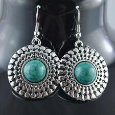 originales pendientes de plata tibetana etnica  color turquesa 3 cm