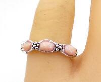 925 Sterling Silver - Rhodochrosite 3 Stone Shiny Flower Band Ring Sz 8 - R17012
