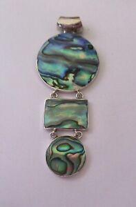 Sterling Silver Pendant - 2 circles & 1 rectangle -abalone shell- pretty design