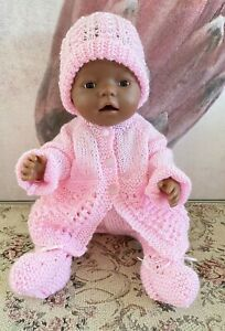 """RARE 2004 Vintage 16"""" AA Black Brown Baby Born Zapf Doll in Knitted Clothes Htf"""