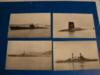 FOUR VINTAGE DIFFERENT NAVY  SHIPS OUT IN THE SEA POSTCARDS UNPOSTED POSTCARDS