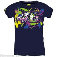 VR46 Valentino Rossi Moto GP T Shirt Casual LADIES Top Blue VRWTS2057021
