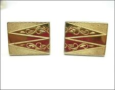 TRIANGLE SCROLL Curls DESIGN on RECTANGLE CUFFLINKS Vintage Goldtone Cuff Links