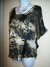 Guess Brand Size Small Camoflouge Camo Palm Print satin Slip top Green mauve EUC