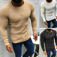 Men's Cable Knit Sweater Stripe Crew Neck Long Sleeve Lightweight Warm Pullover