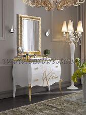 mobile bagno bombato barocco top cristallo foglia oro maniglie swarovski