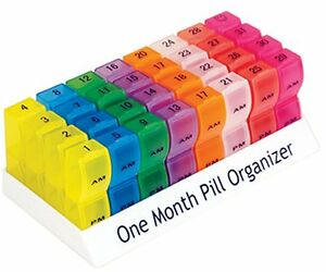 One Month Pill Organiser 32 days AM/PM Lids Medicine/Tablet storage  Box ES
