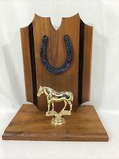 Vintage 1960's Horse Show Trophy Wood Metal Horse & Horse Shoe