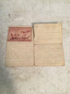RW13 1946 $1 Redhead Ducks Migratory Bird Hunting Stamp Affixes To N.J. Hunting