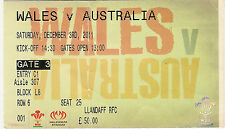 WALES v AUSTRALIA 3 Dec 2011 RUGBY TICKET at CARDIFF