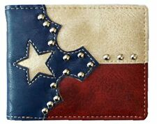 Mens Western Wallet-Bifold-Texas Flag Red White Blue W020