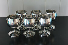 Set of Six Valero Silver-Plated Goblets - Made in Spain - Vintage Cups